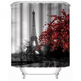 2019 existencias de cortina 2016 venta caliente nueva moda The Eiffel Tower familia baño ducha cortina simple poliéster 12 unids anillo tirón