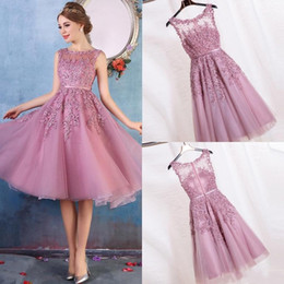 Wholesale Blush Beaded Short Dress - 2017 Blush Pink Cheap Short Cocktail Dresses A Line Sheer Neck Beaded Short Prom Dress Knee Length Party Homecoming Dress CPS298