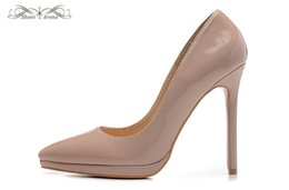 Wholesale Double Pump - WBP982A Size 34-42 Women's 12cm High Heels Beige Patent Leather Double Platform Fashion Pumps, Ladies Luxury Brand Wedding Party Dress Shoes