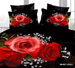 Wholesale Romantic Reversible Bedding - romantic red rose black bedding bed set cotton queen king reversible duvet quilt doona covers sheet comforter sets textile 4 5pc