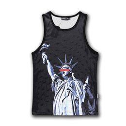 liberty print Promo Codes - Wholesale-Raisevern harajuku summer sleeveless vintage 3D tank top print the Statue of Liberty sport tops fashion bodybuilding clothes top
