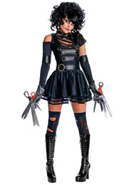 Wholesale Cool Dresses For Women - Halloween Costumes for Women Edward Scissorhands Secret Wishes Sexy Miss Cosplay Cool Costume off shoulder Black Dress Terror Stage Uniform