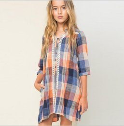Wholesale Plaid Shirts Juniors - 2016 Junior Plaid Lace Shirts Dresses Teenager Fashion Cotton Dress Big Kids Girl Autumn Christmas Clothes children's clothing
