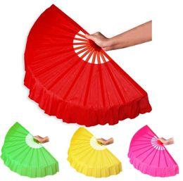 Wholesale Wholesale Christmas Crafts Supplies - 41cm Solid Black Red Folding Hand Fans Craft Dance Performance Wedding Party Souvenir Decoration Supplies wen4757