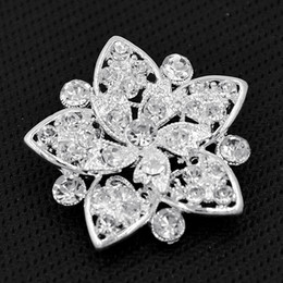 Wholesale Crystal Pin For Clothes - Luxury Bright Silver Tone Clear CZech Crystals Detailed Flower Brooch For Wedding Women Clothes Jewelry Pins Elegant Diamante Broaches