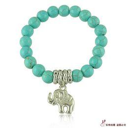 Wholesale Green Precious Stone - Fine Jewelry Natural Onyx Garnet Bracelet Semi-Precious Stone Beads Bracelets Elephant Lucky Charm Bracelets Girls women mens Christmas Gift