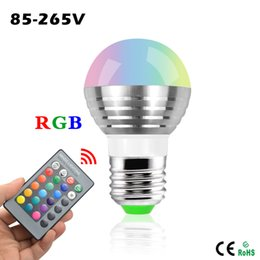 Wholesale E27 Rgb Spot - Smart Bulbs E27 E14 LED RGB Bulb lamp 220V 3W LED RGB Spot light dimmable magic Holiday RGB lighting+IR Remote Control 16 colors