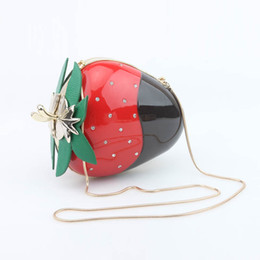 Wholesale Cute Messenger Shoulder Purse - Acrylic Strawberry Evening Bag Mini Cute Crystal Clutch Handbag Party Purse Fruit Shoulder Messenger Crossbody Straw Berry