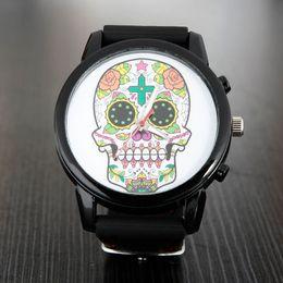 Wholesale Skull Fashion Glasses - Popular Fashion women's men's Unisex skeleton skull style dial Silicone strap quartz wrist watch