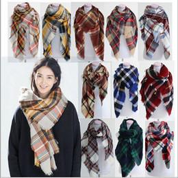 Wholesale Wholesale Silk Neck Scarf - Women's Plaid Scarf Cozy Oversized Tartan Tassel Scarf Fashion Wrap Grid Shawl Check Pashmina Cashmere Lattice Neck Stole Blankets B15 10