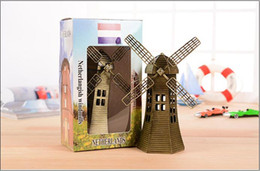 Wholesale Decorative Iron Works - Hot 2017 16.5cm Metal Ornaments Dutch windmill souvenir World Architecture Model living room Decorative wrought iron free delivery