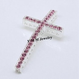 Wholesale Fashion Bracelet Connectors - Free Shipping 20pcs 25x48mm Silver Plating Curved Cross Pink Crystal Rhinestone Bracelet Connector Bar Fashion Findings