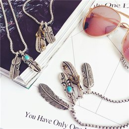 Wholesale Heart Sweater Womens - Fashion Womens Men Feather Pendant Necklace Vintage Long Chain Jewelry Silver Gold Plated Sweater Chain Jewelry Statement Takahashi Goro