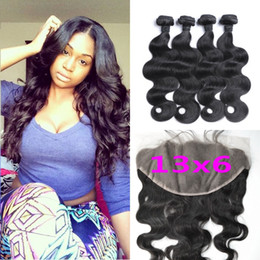 Wholesale Cambodian Baby Hair - 13x6 Ear To Ear Lace Frontal Closure With Bundles Virgin Body Wave Brazilian Hair Lace Frontals With Baby Hair G-EASY