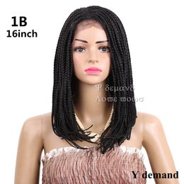Wholesale Bob Boxing - Shorts Black Box Braided Wigs for Women Bob Lace Front Wig With Baby Hair African American