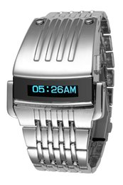 Wholesale Led Watch Iron Man - High Quality NEW Fashion Luxury Iron Man Conception Blue OLED LED Digital Sport Wrist Watch Mens Stainless Steel Watches Relogio Masculino
