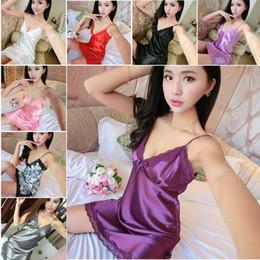 Wholesale Dress 88 - Wholesale- Sexy Women Lingerie Silk Robe Dress Babydoll Nightdress Nightgown Strap Sleepwear 88 JL