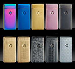 Wholesale Electronic Gas Cigarette Lighter - Cigarette lighter Smoking Accessories Electric Arc Windproof Rechargeable Flameless No Gas Metal Pulse USB Lighters with box