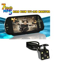 Wholesale Mirror Bluetooth Lcd - HD Video Auto Parking Monitor MP5 Bluetooth 7 inch Car Rearview Mirror Monitor with LED Night Vision Reversing CCD Car Rear View Came