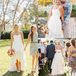 Wholesale Summer New Bohemia Chiffon Dress - 2016 New Beach High Low Summer Wedding Dresses Custom Made Sweetheart Backless Chiffon Country Bohemia Ruffles Bridal Gowns