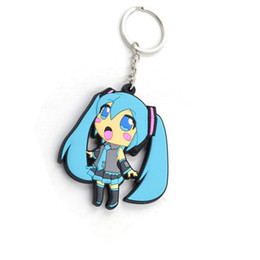 Wholesale Miku Figures - 10 pcs lot Hatsune Miku Girl figure Pendant PVC keychain Anime cartoon accessory with Key Ring