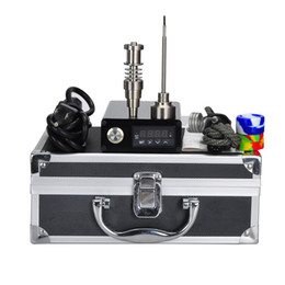 Wholesale E Smart Mini - Smart Mini Electric E Dab Nail Box Complete Kit Dry Herb Vaporizer Aluminium Case Gr2 Titanium Nails Carb Cap Fancier F710