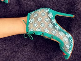Wholesale Shoes Style Lace Boots - high quality lace flower summer style women boots ankle fashion open toe party dress shoes gladiator women boots green blue sexy booties