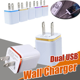 Wholesale Ipad Power - Metal Dual USB Wall Charger Travel Charging USB US EU Plug Universal Home AC Power Adapter 2 Ports For iPhone X 8 Samsung S8 Plus iPad