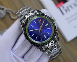 Wholesale Disk Watch - 2017 Europe and America top luxury brand men's watch new 116400 blue plate black disk watch automatic mechanical sapphire mirror classic ava