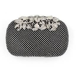 Wholesale Night Club Clutch Bags - Luxury evening bags rhinestone flower clutch black silver gold for party for bridal  bridemaid night club