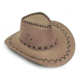 Wholesale Cool Fancy Dress - Wholesale-Cool 2016 New Fashion Cowboy Hat Suede Look Wild West Fancy Dress Mens Ladies Unisex Hats Khaki