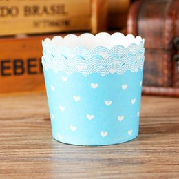 Wholesale Cupcake Paper Cups Cheap - Blue heart cupcake case, muffin paper cups tin liners, cheap cupcakes boxes holder supplies