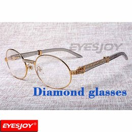 Wholesale Read Steel - Stainless Steel Luxury Diamond Reading Glasses Fashion Mens Metallic Eyewear Frame Designer Brand Men Myopic Glasses Clear Lens with Box