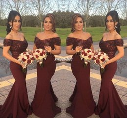Wholesale Short Wedding Evening Gowns - Burgundy Sparkly Sequins Off Shoulder Long Bridesmaid Dresses with Short Sleeve Mermaid 2016 Arabic Formal Wedding Guest Gowns Evening Dress