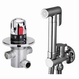 Wholesale Shower Thermostatic Valve - Free shipping brand new copper bidet thermostatic valve Sprayer bidet Shower spray bathroom toilet bidet faucet tap shower sprayer BD288
