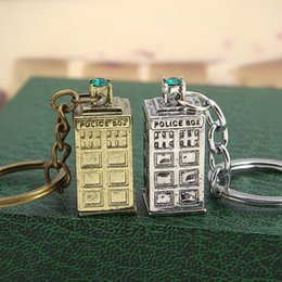 Wholesale Police Key Chain - Doctor who DW Tardis police box Keychain key rings keyrings bags hang Pendants Key Chains for men women fashion jewelry BY DHL 170375