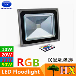 Wholesale Flood Garden - 10W 20W 30W 50W Led RGB Floodlights Warm Natrual Cold White Red Green Blue Yellow Outdoor Led Flood Garden Light Waterproof + Remote Control