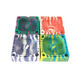 Wholesale Cigars Holders - Square Silicone Ashtray Unbreakable Cigarette Tray Dab Station For Cigar Holder 10 Pcs Lot