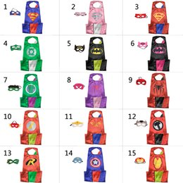 Wholesale Wholesale Adult Super Hero Masks - L140*90 Adult Superhero Capes and Adult Masks Double Sides Satin Capes High Quality Cosplay costumes and Free Shipping by DHL