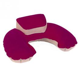 Wholesale Latex U Pillow - Soft Inflatable Neck Head Rest Pillow Air Cushion U Shape Neck Support 2 Colors For Flight Car Travel