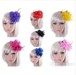 Wholesale Lace Headbands Caps - HOT!Feather Hat Wedding Ribbon Gauze lace Feather Flower top hats fascinator party hair clips caps homburg Bridal Accessories 10pcs