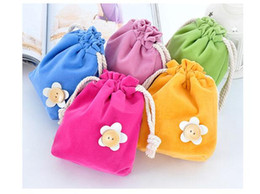Wholesale Garage Wall Art - Double soft candy color cloth art beam pocket grocery bag storage bags 5 color cute style