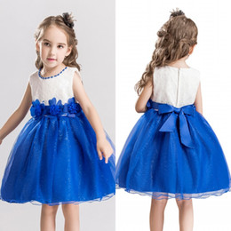 Wholesale Dresses Bling Knee Length - Pretty Two Color Little Kids Flower Girl Dresses Short A Line Princess Crew Neck with Hand Made Flowers Bling Girls Pageant Dress MC1050