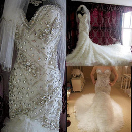 Wholesale Sexy Beaded Straight Wedding Gowns - New Arrival Wedding Dress Tulle Strapless Straight Neckline Empire Beaded Beautiful Decoration Mermaid Sweetheart Chapel Train Bridal Gown