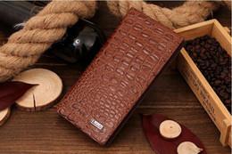 Wholesale Crocodile Leather Card Holder - New Men Crocodile Wallets Genuine Leather Wallet for Men Phone Cases Gent Leather Male Wallets Leather Purses Carteira Masculina