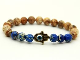 picture chains Promo Codes - New Design 1PCS 8mm Natural Picture Jasper Stone Sea Sediment Beads With Antique Bronze Hamsa Best Gift Bracelets