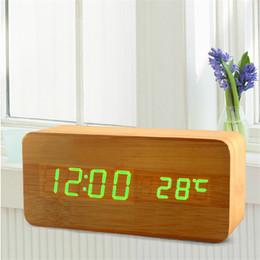 Wholesale Usb Digital Clock - Cube Wooden LED Alarm Clock LED Display Electronic Desktop Digital Table Clocks Wooden Digital Alarm Clock USB AAA Voice Control horloge