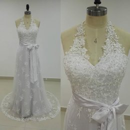 Wholesale Plus Size Summer Halter Dresses - Real Halter Lace Beach Wedding Dress Sleeveless Beaded Appliques Mermaid Wedding Dresses Bridal Gowns Sweep Train Removable Sash Custom Made