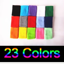 Wholesale volleyball wrist support - 23 Colors Cotton Made Elastic Wrist Support Protective Safety Bracers Sweatbands Sporting Outdoor Accessory For Gym Volleyball Basketball