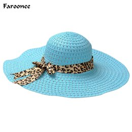715b3bca4ba Wholesale- Faroonee Women Girls Summer Sun Hats Wide Brim Straw Hats Sea  Beach Casual Elegant Vacation Tour Hat with Leopard Ribbon WS526